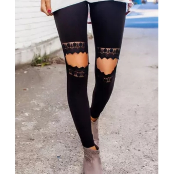 Carved Out Distressed Leggings